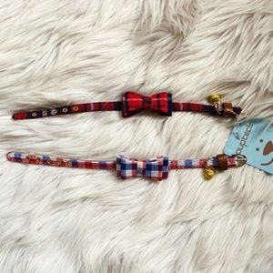 2 Puptek Plaid Bell Dog Collars Red & Blue XS